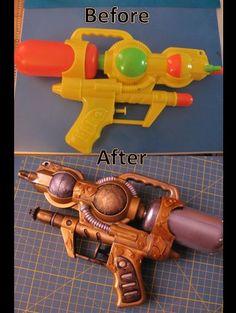 Steampunk gun made from cheap water gun. Lockhart Bowen Steampunk gun made from cheap water gun. Arma Steampunk, Steampunk Mode, Steampunk Weapons, Steampunk Halloween, Steampunk Pirate, Steampunk Crafts, Steampunk Cosplay, Steampunk Clothing, Steampunk Fashion