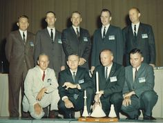 NASA Astronaut Group 2, September 17, 1962  Nine new flight personnel selected by Manned Spacecraft Center, NASA, in Houston Sept 17, 1962, are front row, left to right, Navy Lt. Charles Conrad, Jr., Air Force Major Frank Borman; NASA Test Pilot Neil Armstrong, and Navy Lt. Cmdr. John W. Young; second row, civilian test pilot Elliott M. See, Jr., Air Force Capt. James A. McDivitt, Navy Lt. Cmdr. James A. Lovell, Jr., Air Force Capt. Edward H. White II, and Air Force Capt. Thomas P. Stafford.