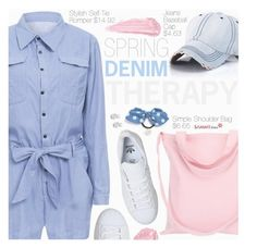 """Denim Style"" by pokadoll ❤ liked on Polyvore featuring Cara, adidas, By Terry and Rock 'N Rose"