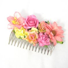 Pink, peach and yellow Floral Haircomb Flower Fascinator Vintage Wedding Party Bridal Accessory Bridesmaid statement on Etsy, 141,80 kr