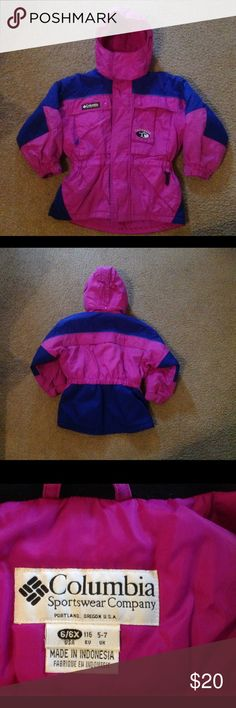 VGUC Columbia Sportswear Co. Girls Coat size 6/6X Very good used condition. Adjustable wrist and hood, fitted waist, several pockets. Machine washable. Columbia Jackets & Coats Puffers