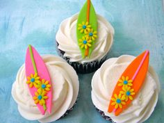 Surfboards Fondant Cupcake Toppers by YourCupcakeStory on Etsy, $27.00