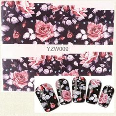 1 Sheet Beauty Flower Designs Water Transfor Nail Stickers Full Cover Adhesive Stickers For Nail Art Romantic Roses, Nail Art Stickers, Types Of Nails, Gel Nail Art, Gel Polish, Sliders, Flower Designs, Pink Flowers, Cover