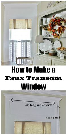 How to create a faux transom window. Make a faux transom window with molding and simple carpentry. Add a trim and molding to make a faux transom window. Faux Window, Moldings And Trim, Crown Molding, Moulding, Transom Windows, How To Make Curtains, Home Upgrades, Interior Barn Doors, Decoration