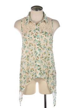 women's fashion | Sincerely Sweet | Lace Yoke Sleeveless Floral Print Blouse in Sky