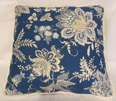 French Country Romantic Cottage Pillow White Blue Yellow Floral Toile Provence Provencal Cushion Decorator