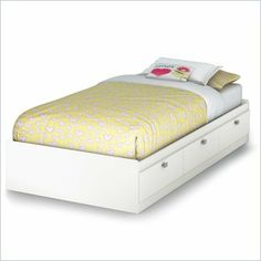 South Shore Affinato Twin Mates Storage Bed Frame Only in Pure White Finish - 3260080