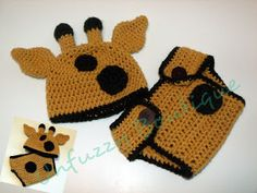 Unfuzzys Giraffe Hat and Diaper Cover Set by Busting Stitches  Free Pattern: http://www.bustingstitches.com/2012/10/unfuzzys-giraffe-hat-and-diaper-cover.html   2013 #TheCrochetLounge #Costume Pick