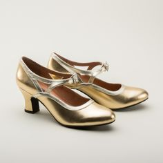 Roxy 1920s Flapper Shoes by Royal Vintage (Gold) (Pre-Order)