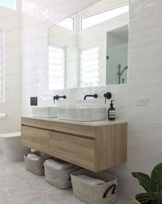 New Wood Tile Bathroom Tub Vanities 24 Ideas Floating Bathroom Vanities, White Bathroom, Bathroom Small, Floating Vanity, Vanity Bathroom, Stone Bathroom, Double Sink Bathroom, Bathroom Tubs, Textured Tiles Bathroom