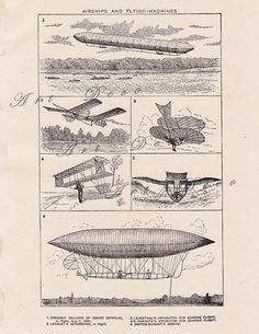 Airships and Flying Machines digital image of 1904 encyclopedia page.....1084