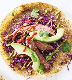 Flank Steak Wakame Crepes with Wakame Avocado Purée