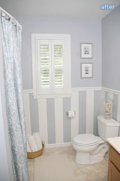 bathroom makeover with shutters and stripes