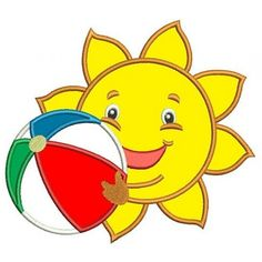 Sun Applique with a beach ball Summer Machine Embroidery Digitized Design Pattern -Instant Download- 4x4,5x7,6x10