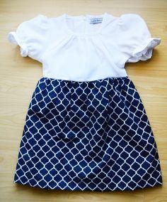 Navy patterned white dress