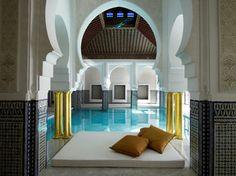 The pristine indoor pool at La Mamounia, Marrakech's iconic hotel.