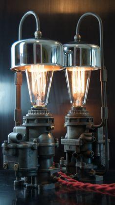 Machine Age/Dieselpunk Ford Carburetor Lamp with Air Cleaner shade