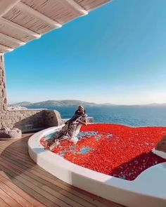 """As Einstein once said, """"Gravity is not responsible for people falling in love"""".... Right here, this heart shaped private infinity pool…"""