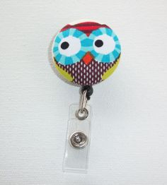 Retractable Reel ID Badge Holder   Fabric Button  Owl by Laa766, $6.25  What could be more fun then these cute retractable Badge Id Holders!!