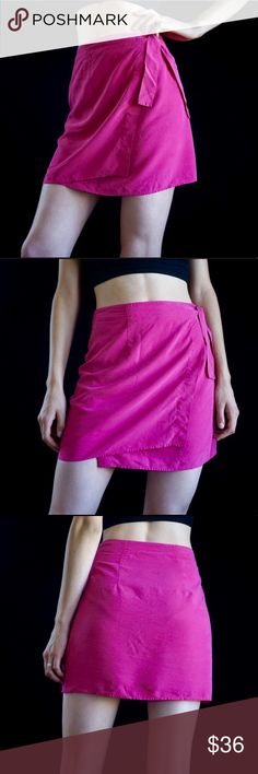 3d1a107ac5 Vintage silk wrap mini skirt Magenta 90s 100% silk wrap mini skirt. Marked M