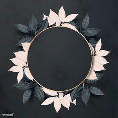Round golden foliage frame on black background vector