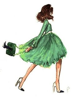 green dress drawing