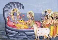 Vishnu and Lakshmi with Other Gods - Reprints of Miniature Paintings (Reprint on Paper - Unframed) Krishna Lila, Lord Krishna, Shree Krishna, Radhe Krishna, Ganesh Photo, Pichwai Paintings, Ganesh Images, Lord Vishnu Wallpapers, Indian Goddess