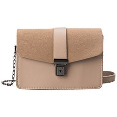 Khaki Faux Leather Chain Double Side Crossbody Bag (225 CZK) ❤ liked on Polyvore featuring bags, handbags, shoulder bags, chain shoulder bag, beige shoulder bag, crossbody chain purse, vegan purses and faux leather shoulder bag