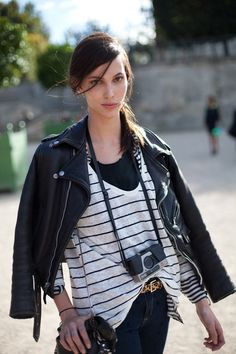 STREET STYLE SPRING 2013: PARIS FASHION WEEK - Ruby Aldridge is classic punk in a moto and stripes.