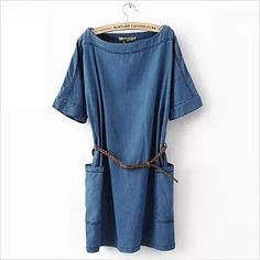Women' s Round Neck Short Sleeves Plus Size Denim Pockets Casual Dress with Belt