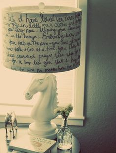 Write favorite bible verses or quotes on white lamp shade