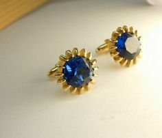 Vintage Blue Glass Cufflinks Signed Hickok by NeatstuffAntiques, $35.00