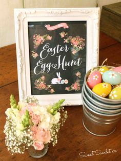 Cute sign for an Easter Egg Hunt!  See more party ideas at CatchMyParty.com!