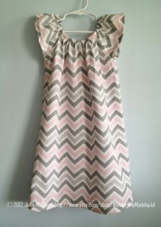 Little Girl Peasant Dress, Sizes 3-6 M, 6-9 M, 9-12 M, 2T --- Custom Boutique Made to Order Back to School, Fall Chevron Pink Gray. $22.00, via Etsy.
