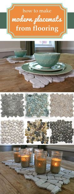 Such a great idea!! Take leftover flooring and turn them into amazing modern place mats! Unique and functional, we just love them. www.ehow.com/...