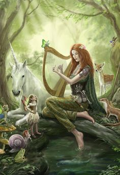 girl playing harp in forest - Google Search