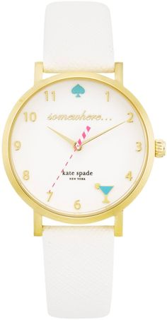 Kate Spade New York Ladies Novelty Metro 23K Gold Leather Strap Watch # 1YRU0765