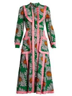 Daisy-print silk crepe de Chine midi dress | Gucci | MATCHESFASHION.COM UK