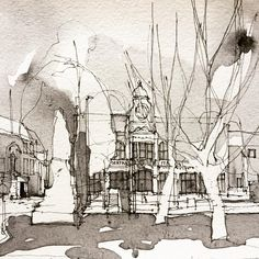Salford Fire Station painted only using black watercolour- not sure why! #salford #salfordfirestation #salfordmuseumandartgallery #watercolour #monotone #sketch #cityscape #architecturesketch #archisketcher #simoneridyard