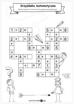 Krzyżówka z dodawaniem w zakresie do 9 - Printoteka.pl 1st Grade Math Worksheets, Christmas Worksheets, Anton, Grade 1, Preschool Activities, Diy For Kids, Activities, Speech Language Therapy, Crafts For Kids