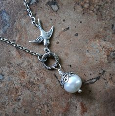 Silver Sparrow Pearl Necklace Pearl Wedding by EnchantedLockets, $23.00