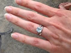 """""""This is a stunning engagement ring -- my husband selected aquamarine and diamonds -- affordable and beautiful. It's just the right kind of big stone -- substantial but not flashy. And comfortable. It also works well with any band because it's nearly flat on its edge."""""""