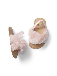 Furry Slip-On Sandals gap