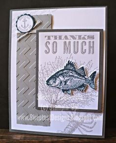 """Sweetest Designs: Thanks So Much {a masculine thanks}Stamps: By The Tide, Oh Hello Ink: Midnight Muse, Smoky Slate CS: Basic Gray, Midnight Muse, Smoky Slate, Whisper White Accessories: Big Shot, Chevron textured embossing folder, 7/8"""" scallop circle, 1/2"""" circle punch, bakers twine, dimensionals"""