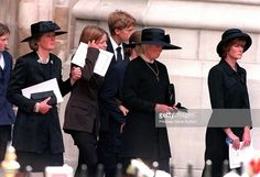 The Spencer family leaving Westminster Abbey after the funeral service for Princes Diana, Princess of Wales, 6th September 1997. The group includes, Lady Jane Fellows, the princess' mother Shand Kydd and Lady Sarah McCorquodale.