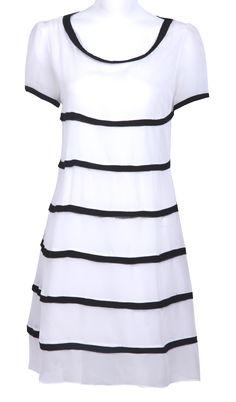 #SheInside White Round Neck Short Sleeve Contrast Stripes Shift Dress - Sheinside.com