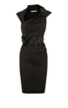 Karen Millen Orchid corsage fitted Dress Black ,fashion Karen Millen Solid Color Dresses outlet by mickichele