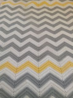 Large Gray White And Yellow Chevron Afghan