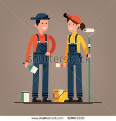 Couple of house painter vector flat characters with paint equipment   Young man and woman friendly smiling workers in workwear overalls standing isolated holding brushes and roller - stock vector