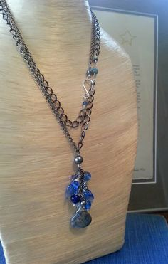 Denim Blue Long Cascade Necklace | Handmade Glass Beads | Donna Sauers Designs